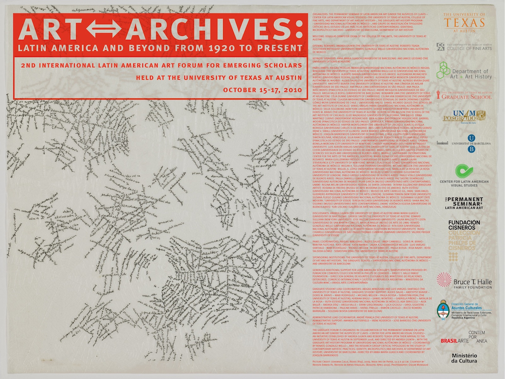 poster for CLAVIS Art-Archives conference 2010 with participant and sponsor info