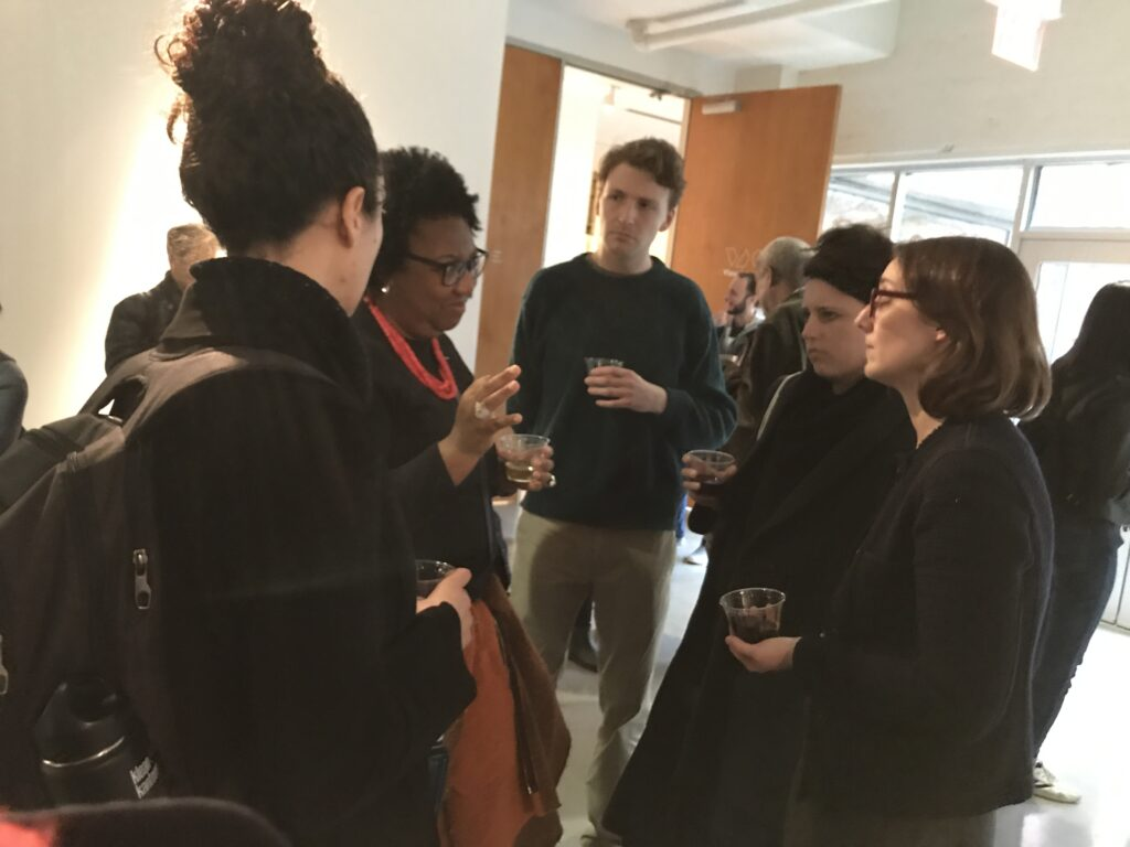 Students and faculty in conversation with artist Rosana Paulino at the Visual Arts Center at UT