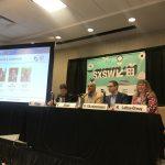 Lisa Loftus-Otway with her fellow panelists Finch Fulton (USDOT), Shailen Bhatt (ITS America), and Alex Fitzsimmons (US Dept of Energy)