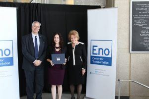 Nicole McGrath with Eno President and CEO, Robert Puentes, and former Secretary of Transportation, Mary E. Peters