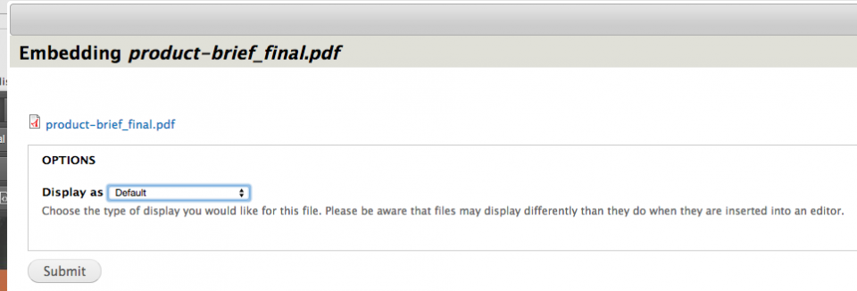 Screenshot example of uploading a pdf file using the Media button