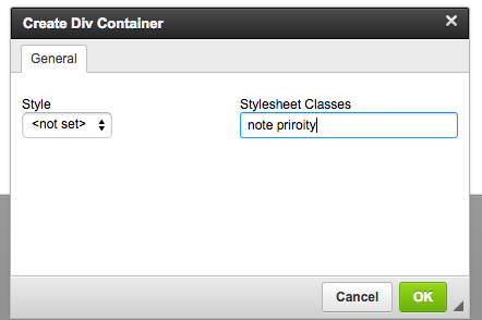 Screen Shot of the Div Container button pop up showing the Stylesheet Classes field.
