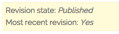 Notice for a page that is published and has no unpublished drafts
