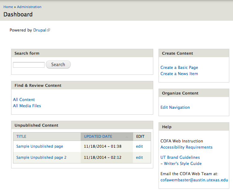 Screenshot of an example dashboard showing the available options and tools for editing the site.
