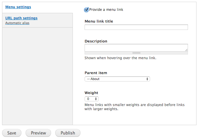 Area of the Content Type editing form for creating a menu item.