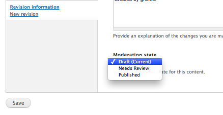 Screen shot shows the drop-down menu and the published option
