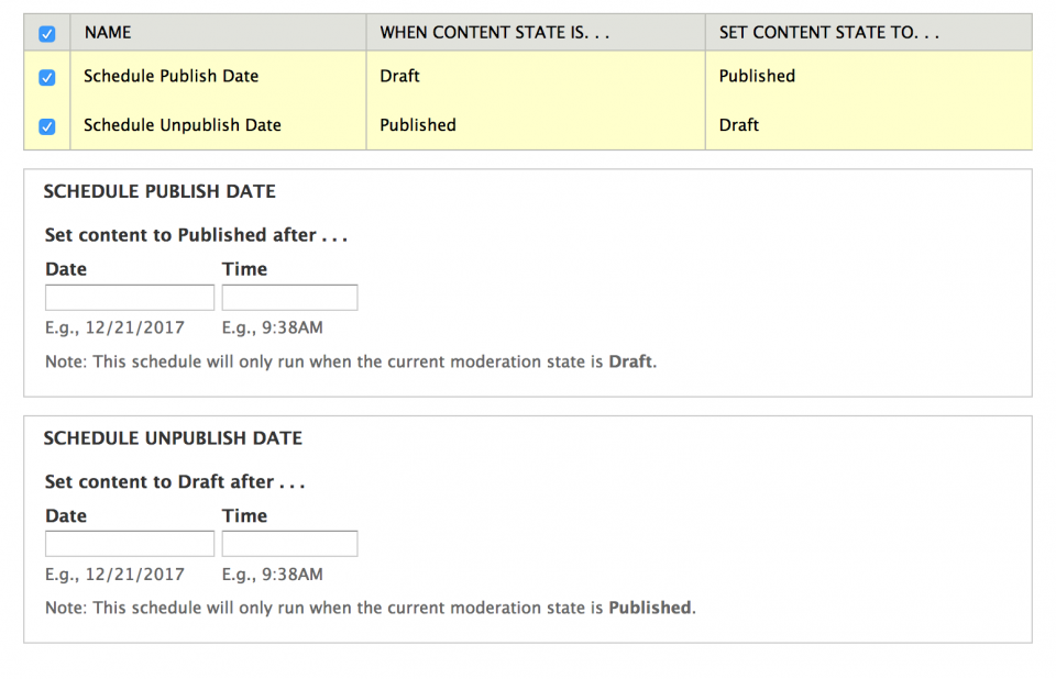 select publish or unpublish to access the forms