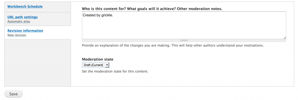 revision information tab moderation state