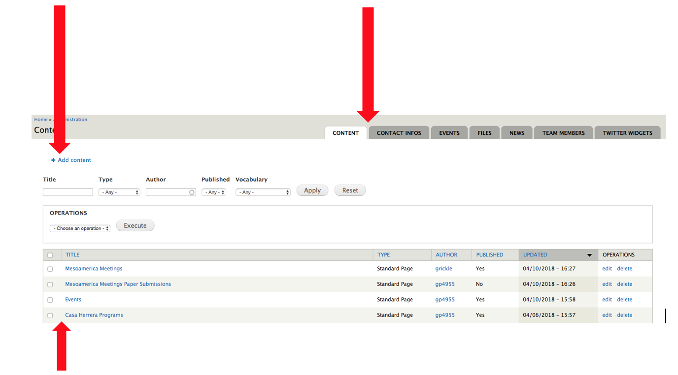 Manage your QuickSites content in the admin area