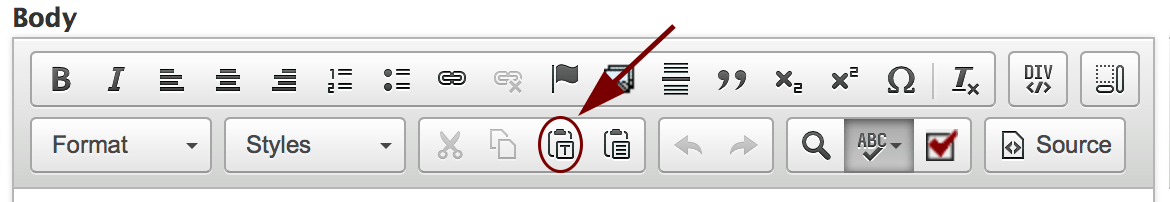Insert as plain text button circled