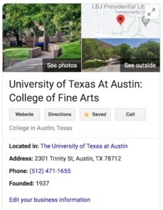 Google knowledge panel for the College of Fine Arts