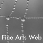 Photograph of spider web with College of Fine Arts Web Team wordmark