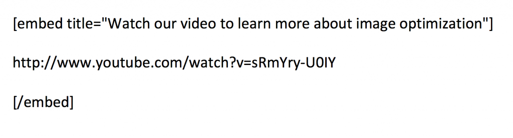 Example of YouTube embed code with title attribute.
