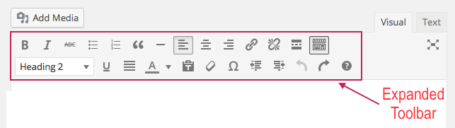 Expanded toolbar
