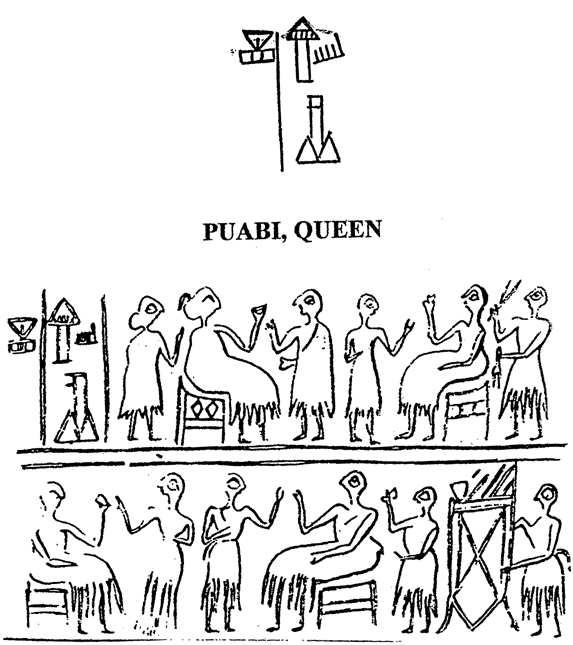 (Fig. 5) Name and title of Puabi carved on a seal recovered in the Royal Cemetery of Ur (U10939) (Source: Pierre Amiet, La Glyptique Mésopotamienne Archaique, Editions du CNRS, Paris 1980, Pl. 90: 1182)