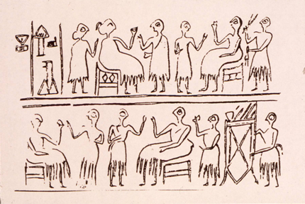 Drawing of banquet scene