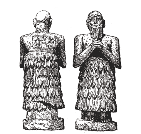 Drawing of statues