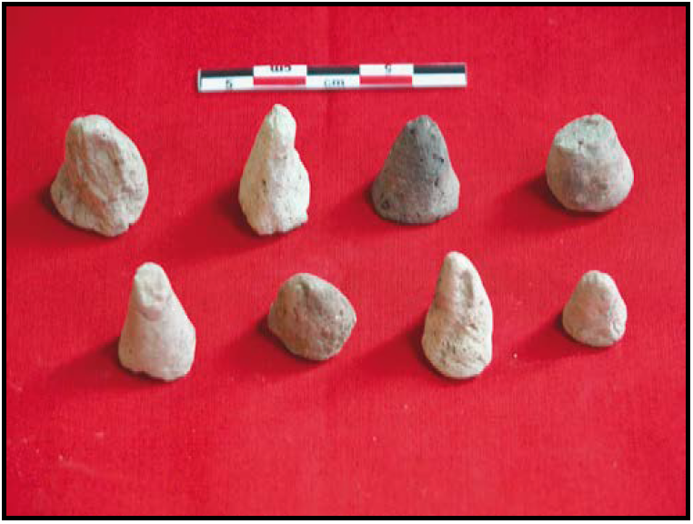 cone samples with measure tape for scale