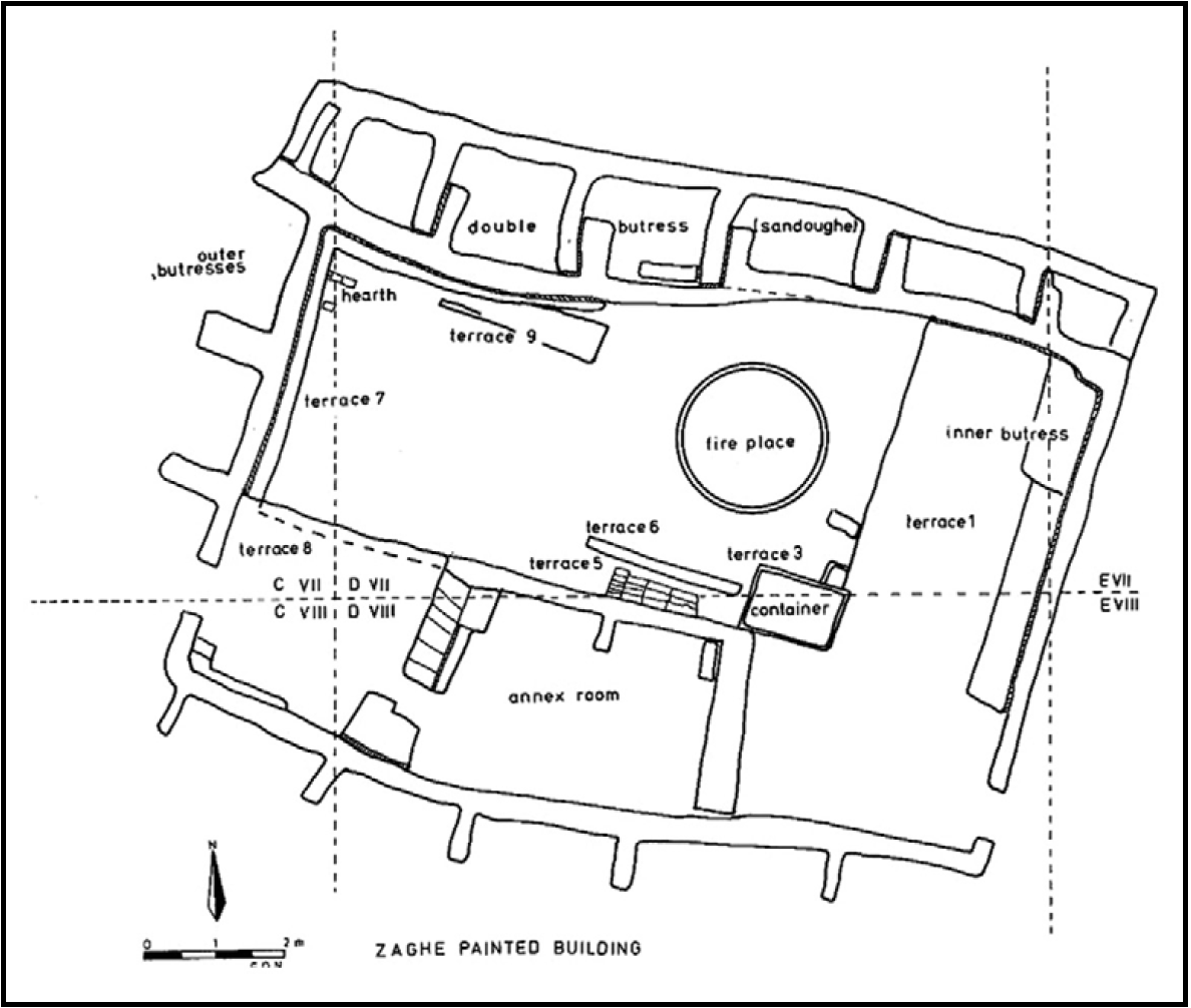 Drawing of floor plan with rooms and areas labeled