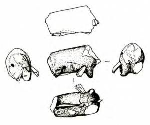 drawings of various stabbed figurines.