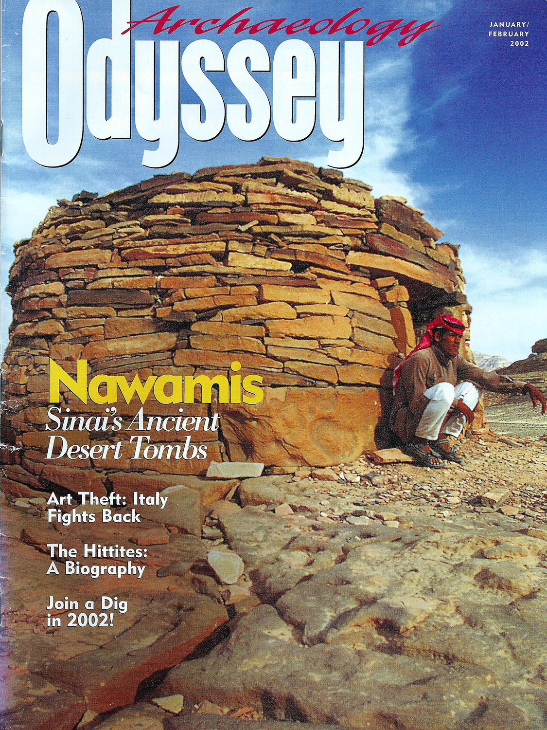 Cover of Archaeology Odyssey magazine includes articles on Nawamis of Sanai: Exploring 5,000-Year-Old Desert Tombs
