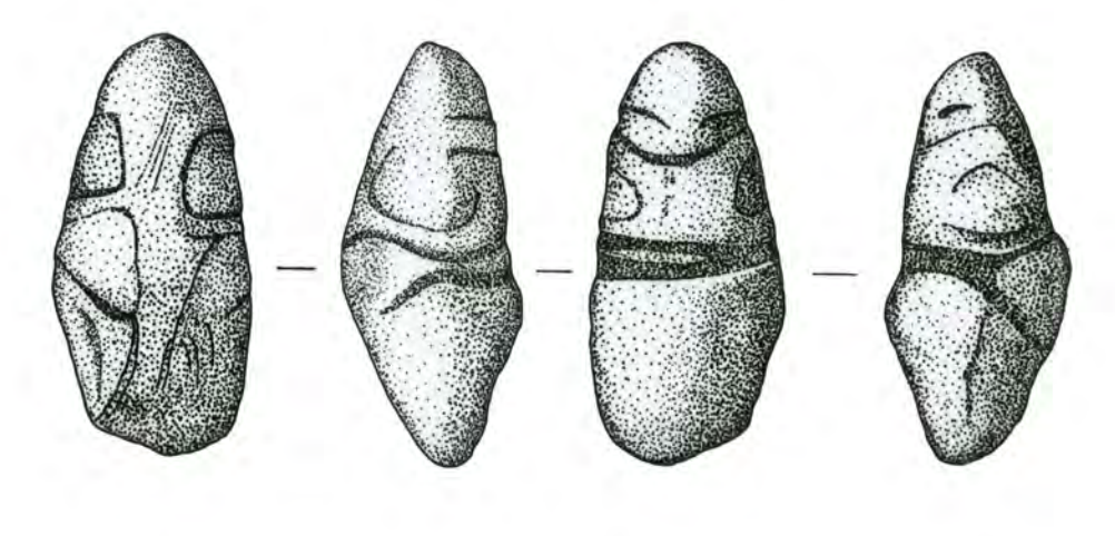 Four drawings of a figuring made of a smooth pinkish-white limestone river pebble.