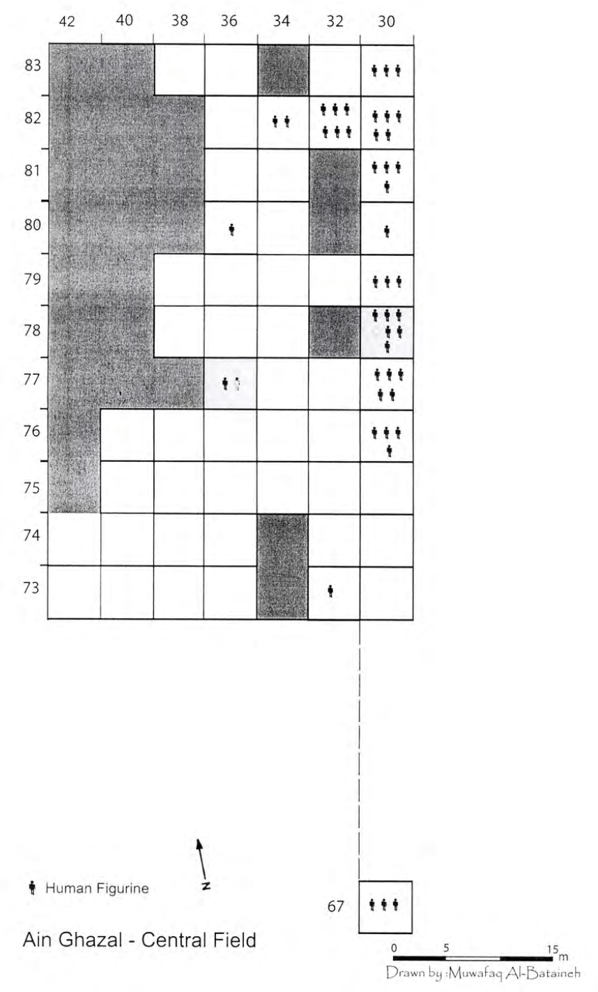Numbered grid illustrating the number of human figurines in each excavated square.