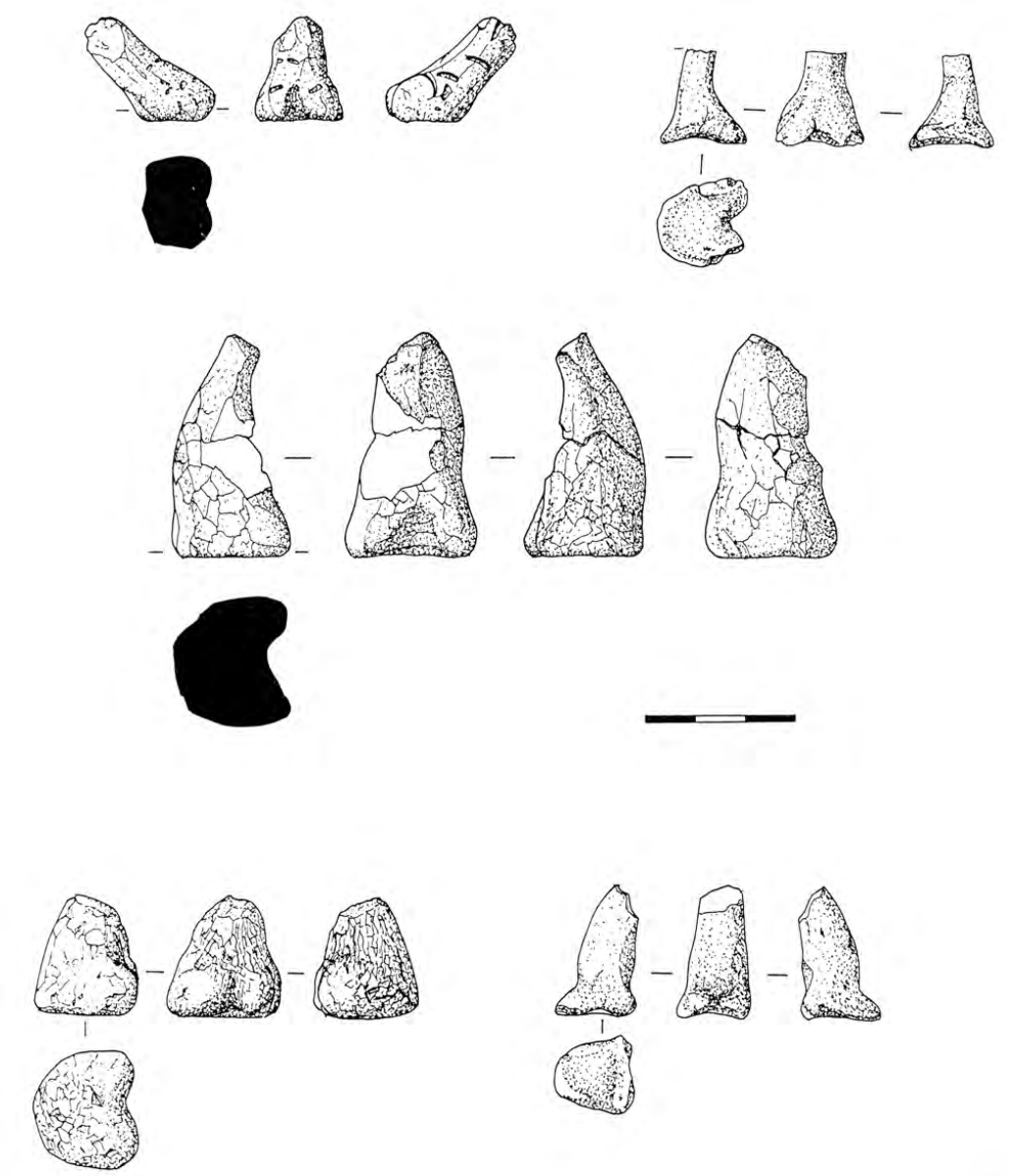 Several drawings of conical figurines from different angles.
