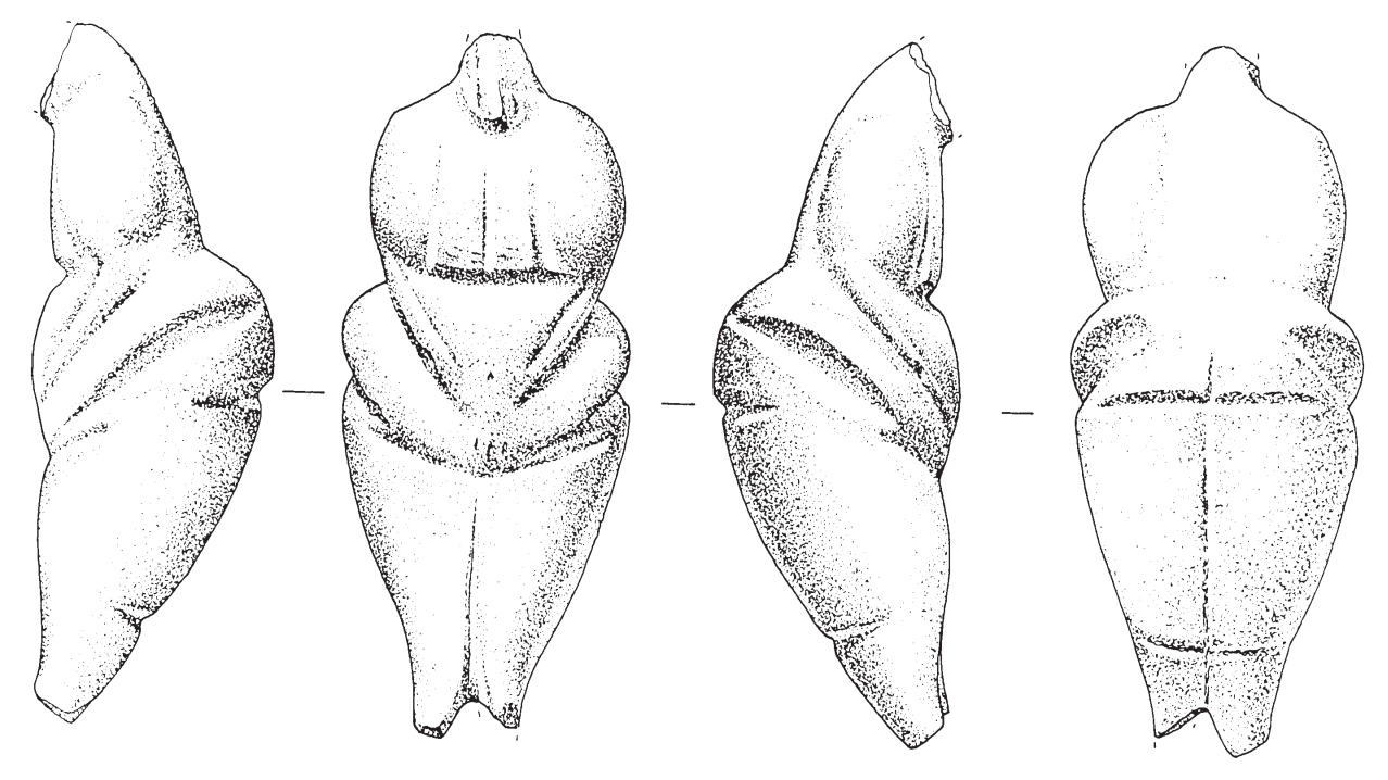 Drawing of the stone statuette from front, back and each side.