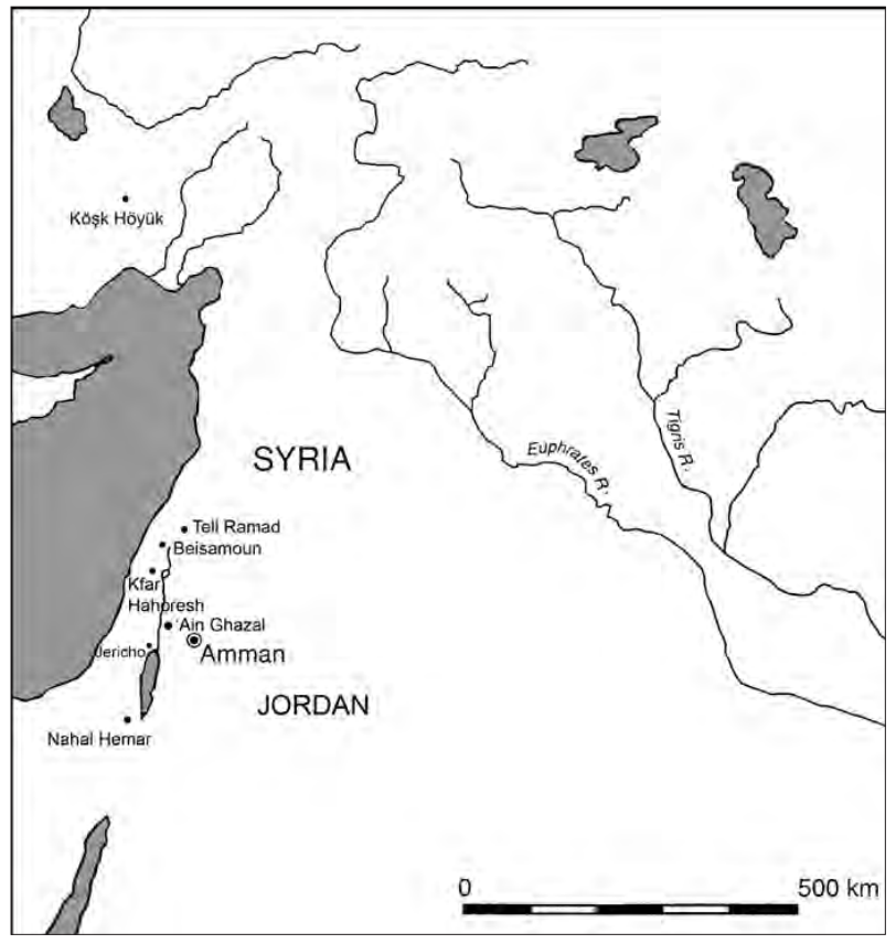 Map drawing indicating Jericho in Palestine; Beisamoun, Kfar HaHoresh, and Yiftahel in Israel; Tell Ramad and Tell Awad in Syria, and Kösk Höyük, Turkey.