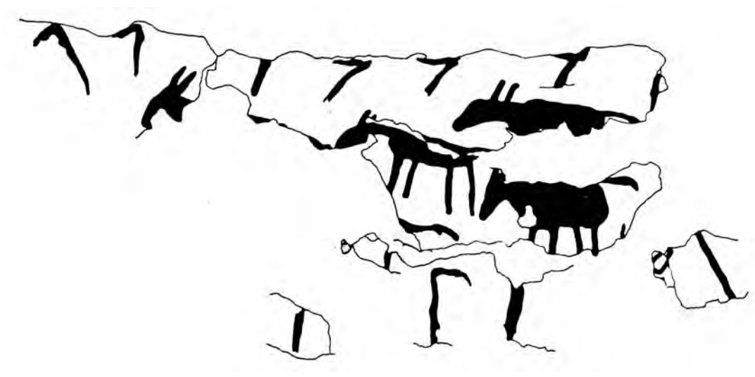 drawing of equids walking one behind the other