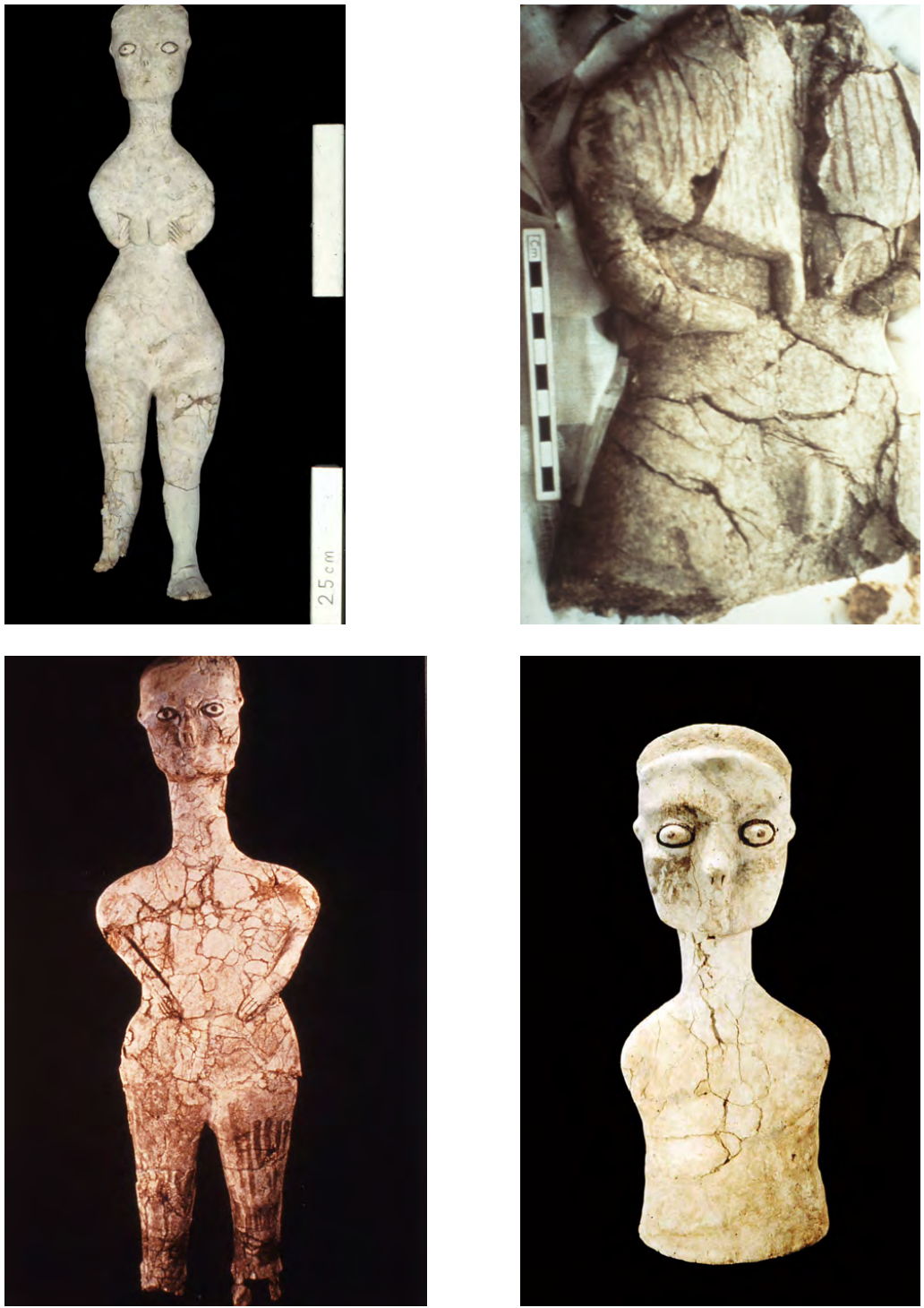 Photographs of four statues of figures.