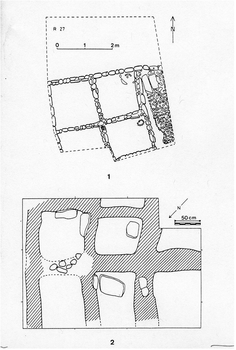 Map drawings of storage areas or silos