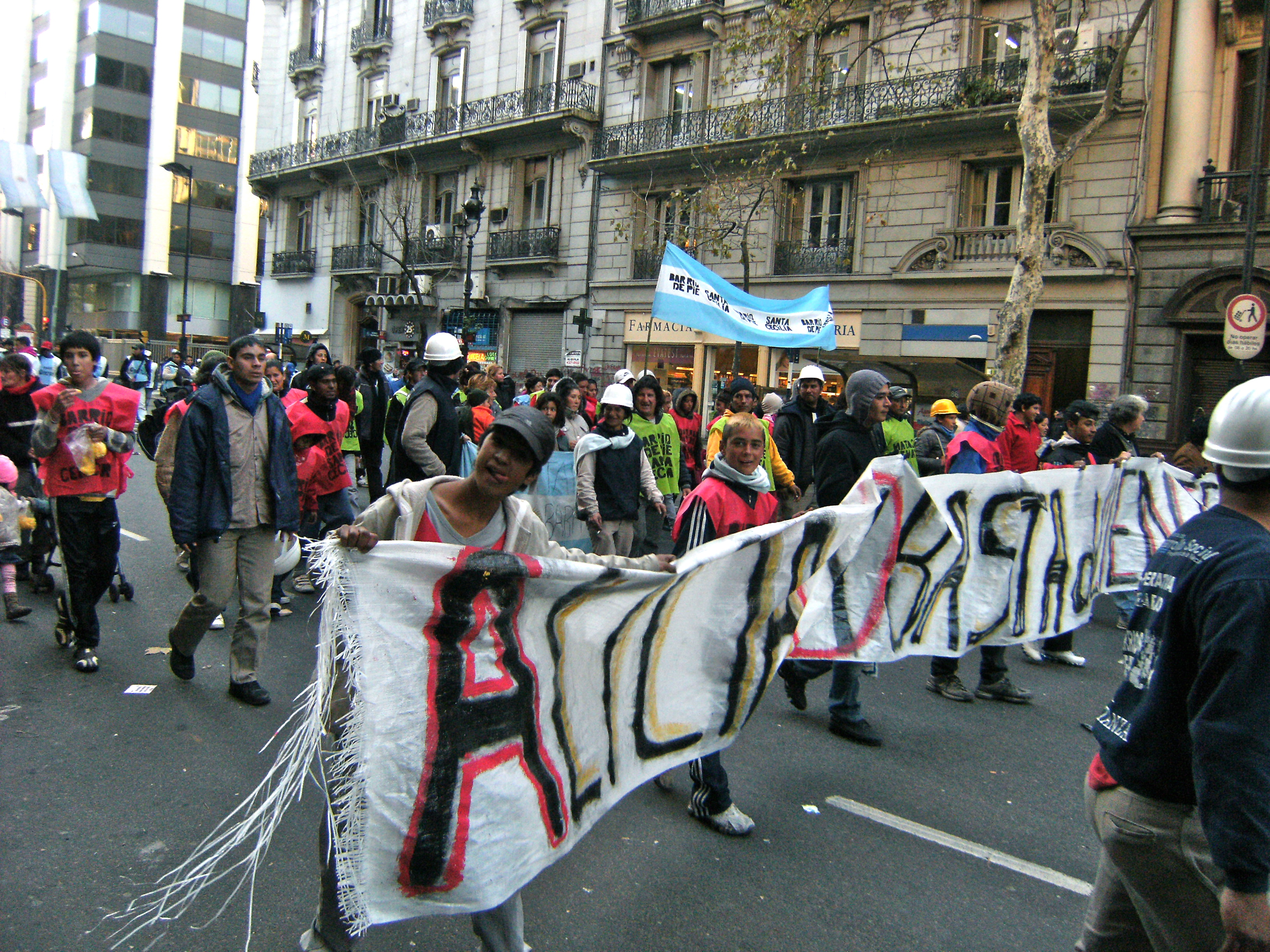 Marching for Soup Kitchens, May Avenue, Buenos Aires, Argentina. June 2012. Marcos Perez.