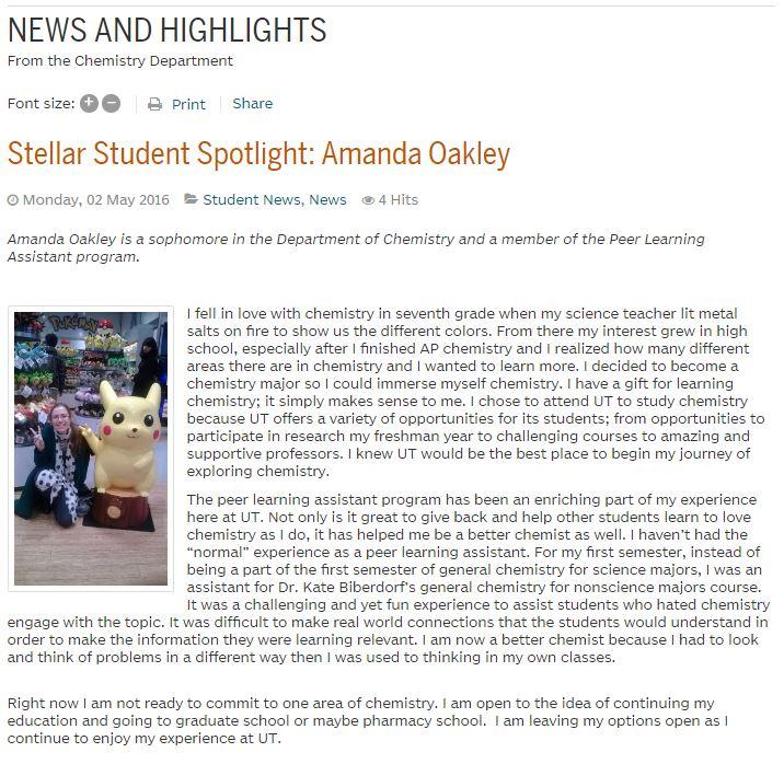 Amanda Oakley Student Spotlight