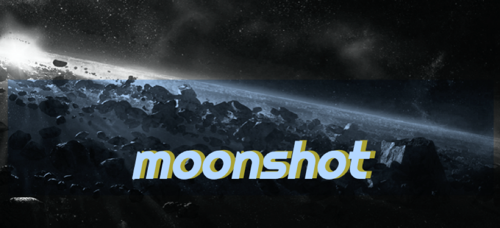 """photo of astro belt in space. text reads """"Moonshot"""" and is the logo for the original video game """"Moonshot"""""""