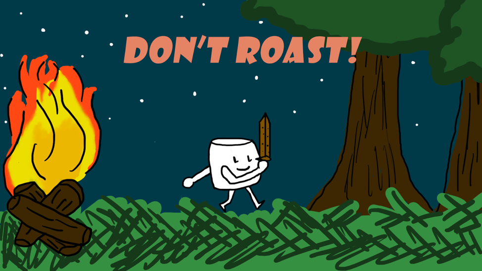 2D artwork for video game Don't Roast! a marshmallow with a sword walks through a forest at night next to a large campfire