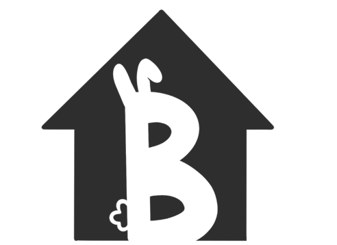 """2D graphic of house silhouette with large letter """"B"""" inside. """"B"""" has bunny ears and a bushy tail"""