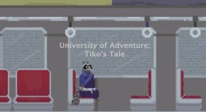 """Title image for """"University of Adventure: Tiko's Tale"""" a raccoon sits on a subway seat"""
