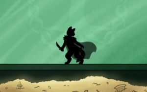silhouette of cat-like character with cape and sword against a green background