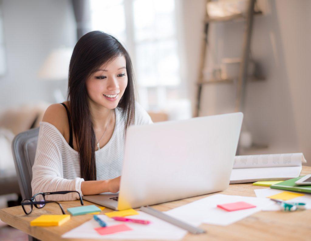 Design student working online
