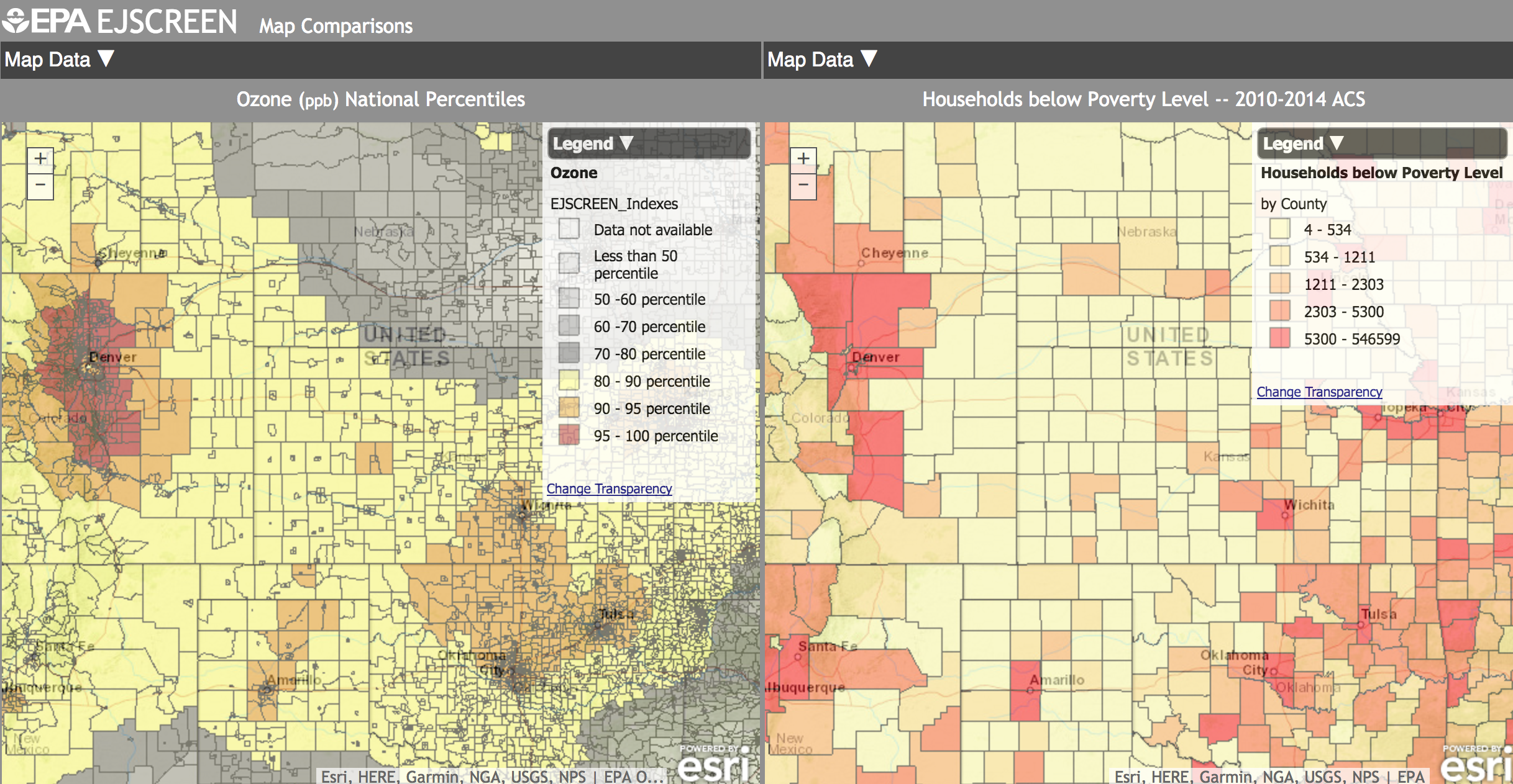 Screenshot from EJSCREEN, the EPA's new tool for mapping where pollution and poverty intersect. Visit at https://www.epa.gov/ejscreen