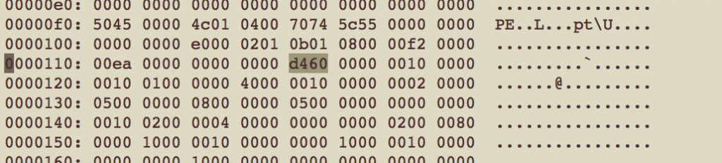 Entry point value at offset 0x118 of malware sample