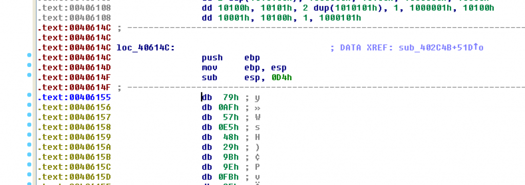 IDA Pro disassembly view after undefining instructions