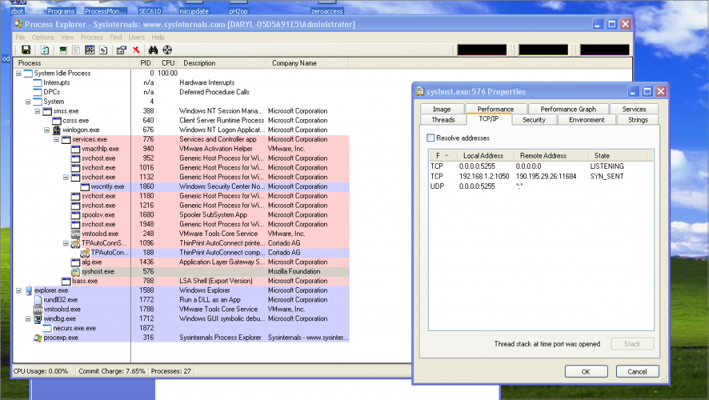 ScreenShot of ProcessExplorer