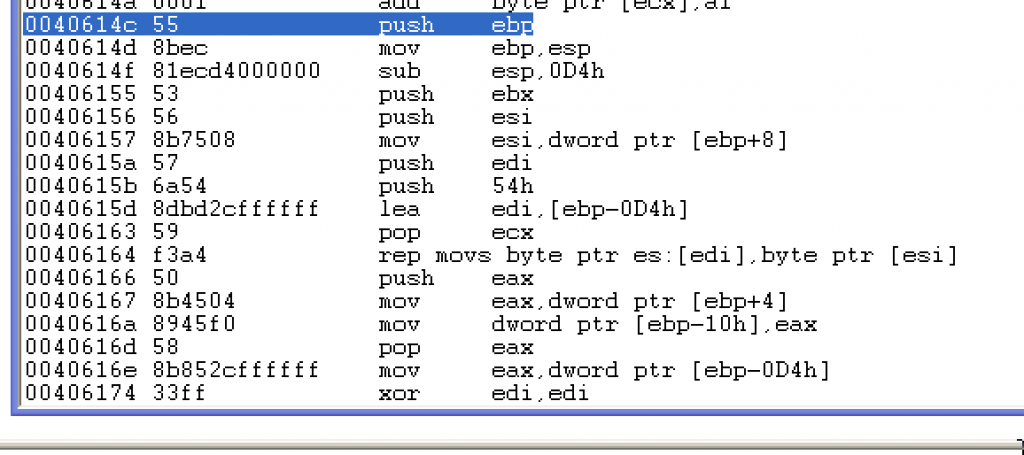 WinDbg disassembly at offset 0x40614C