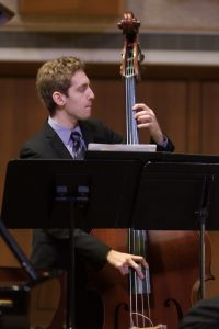 Bassist Chase Goldman holds down the low end of the UT Jazz Orchestra.