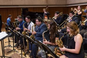 The UT Jazz Orchestra saxophone section.