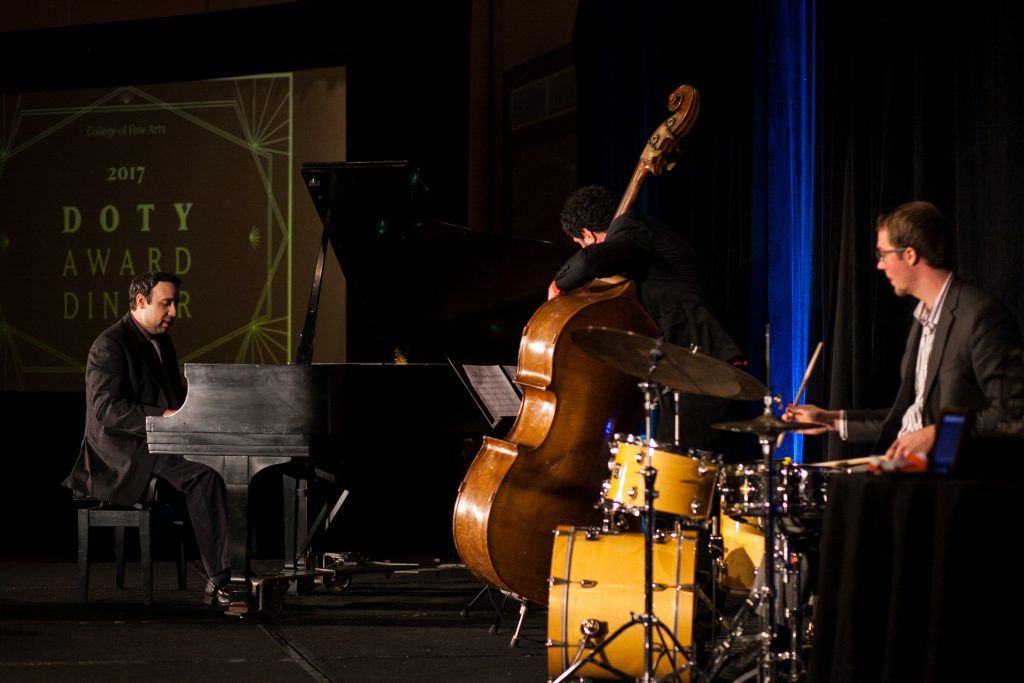 Ross Margitza trio performing at the 2017 Doty Award Dinner honoring alumna pianist Helen Sung.